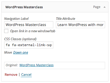 Adding CSS classes to WordPress menus