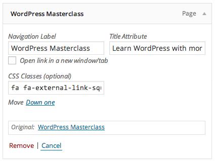 Adding CSS classes to WordPress menus