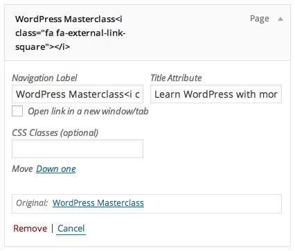 Adding HTML to a WordPress menu item